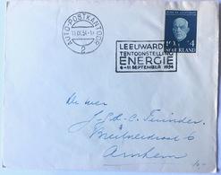 10 C+ 4 C Jeucht En Luchtvaart + Handstamp LEEUWARDEN TENTOONSTELLUNG ENERGIE 1954 - Periode 1949-1980 (Juliana)