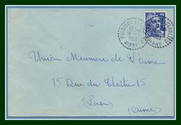 Lettre Puisieux Et Clanlieu ( Aisne 02 ) Type B7  1953 / Gandon - Postmark Collection (Covers)