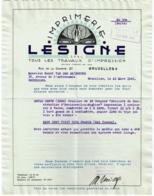 Facture. Imprimerie Le Signe, Rue De La Charité à Bruxelles. 1941. - Bélgica