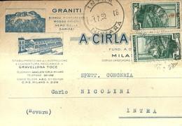 """1433 """"GRANITI A. CIRLA - MILANO"""" CART. POST. ORIG. SPEDITA - Commercio"""