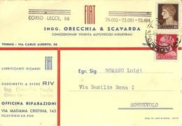 """1434 """"INGG. ORECCHIA & SCAVARDA - CONC. FIAT-VENDITA AUTOVEICOLI INDUSTRIALI"""" CART. POST. ORIG. SPEDITA - Commercio"""
