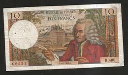FRANCE - BANQUE De FRANCE - 10 Francs VOLTAIRE ( J. 4 / 4 / 1968 ) Serie: B. 406 - 1962-1997 ''Francs''