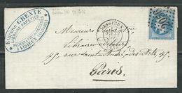 FRANCE 1868 N° 29 S/Lettre Obl. GC 2056 Lisieux - 1863-1870 Napoléon III Lauré