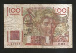 FRANCE - BANQUE De FRANCE - 100 Francs  Jeune Paysan  (J. 31 - 10 - 1946 ) Serie: U123 - 1871-1952 Antichi Franchi Circolanti Nel XX Secolo