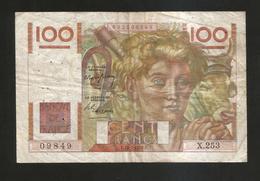 FRANCE - BANQUE De FRANCE - 100 Francs  Jeune Paysan  (C. 15 - 7 - 1948 ) Serie: X253 - 1871-1952 Antichi Franchi Circolanti Nel XX Secolo