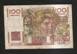 FRANCE - BANQUE De FRANCE - 100 Francs  Jeune Paysan  (C. 19 - 12 - 1946 ) Serie: X170 - 1871-1952 Antichi Franchi Circolanti Nel XX Secolo