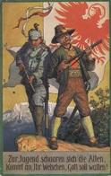 ZUR JUGEND SCHAAREN SICH DIE ALTEN, KOMMT AN … Künstlerkarte Gel.1915, Mehrere Seltene Stempel - Künstlerkarten