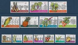 UGANDA - YVERT N° 97/110 ** MNH - COTE = 18 EUR. - FAUNE ET FLORE - FRUITS - Uganda (1962-...)
