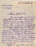 VP13.082 - Brésil - Consulat De France à RIO DE JANEIRO 1919  - Lettre De Mr ?? Pour Mr Le Général GAMELIN - Manuscripts