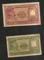 REPUBBLICA ITALIANA - 100 & 50 Lire ITALIA ELMATA - (Firme: Bolaffi / Cavallaro / Giovinco) Lotto - [ 2] 1946-… : Repubblica