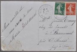 1910 BLOT-L'EGLISE (63) TIMBRE SEMEUSE S/ CARTE POSTALE ANCIENNE FANTAISIE CACHET PERLÉ PUY-DE-DÔME - 1877-1920: Semi-moderne Periode
