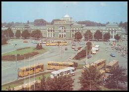 UKRAINE (USSR, 1989). DONETSK. CENTRAL RAILWAY STATION. Buses, Trolleybus, Cars - Ukraine