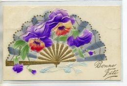 FANTAISIE Carte Gaufrée EVENTAIL Fleurs ART NOUVEAU Dorures  écrite 1909 De Corsinge       /D20-2018 - Non Classés