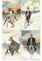 CARTOLINA CARTE POSTALE POST CARD  Serie 12 Cartoline Umoristiche  CITTA' DEL MONDO IN BICICLETTA  Illustratore ROSSETTI - Pubblicitari