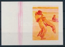 (*) 1967 Festmények III. 1Ft Vágott  ívszéli Bélyeg Fázisnyomata Kék, Arany és Fekete Színnyomat Nélkül. A Szakirodalomb - Stamps