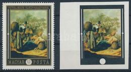 (*) 1969 Festmények 60f Arany Színnyomat Nélkül Vágott Enyvezetlen Papíron + Támpéldány, Ritka! - Stamps