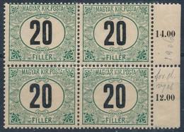 ** 1905 Zöldportó 20f ,,B' ívszéli Négyestömb (64.000++) - Stamps