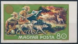 ** 1971 Vadászati Világkiállítás 80f Vágott Bélyeg Fekete Színnyomat Nélkül, Eddig Nem Katalogizált (gyűrődés) - Stamps