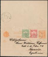 1908 10f Díjjegyes Levelezőlap Turul 5f + 10f Díjkiegészítéssel 'DARUVÁR' - 'ROSARIO' (Argentína) RR! - Stamps