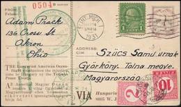 1931 'Igazságot Magyarországnak' Képeslap Amerikából Györkönyre Küldve, Ott Megportózva 12f-el, Nagyon Ritka RRR! - Stamps