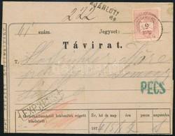 1876 Ajánlott Expressz Távirat,  20kr Hiányzik A Hátoldalról 'PÉCS' - 'SELLYE / SOMOGY M.' - Stamps