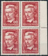 ** 1949 Petőfi Sándor (II.) 60f Négyestömb, Az összes Bélyegen átmenő Papírráncokkal - Stamps