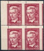 ** 1950 Petőfi Sándor (III.) 60f Négyestömb Látványosan Elfogazva (halvány Rozsdafolt / Light Stain) - Stamps