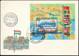 1981 Duna Blokk Eltolódott Fekete Színnyomattal FDC, Rendkívül Látványos, Különösen A Zászlóknál / Mi Block 153, Shifted - Stamps