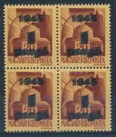 ** 1945 Kisegítő 1P/20f Négyestömb, Kettős Felülnyomattal, Ritka! - Stamps