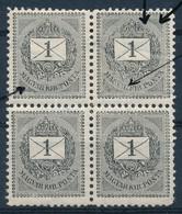 ** 1889 1kr Négyestömb 'törött R' + Lemezkitörés (betapadás, Törés, Rövid Fogak) - Stamps