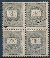 ** 1889 1kr Négyestömb 'szakadt R' Lemezhibákkal (rozsda Folt) - Stamps