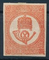 * 1871 Kőnyomású Hírlapbélyeg Téglavörös, Eredeti Gumizással , Falcos (11.000) - Stamps