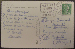 Flamme Daguin Alet Les Bains 1955 Sur Carte Photo (Hôtel De Ville) - Timbre Marianne Müller YT N°1010 - Storia Postale