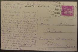 Flamme Daguin Orné Sanary Sur Mer 1937 Sur Carte Postale Animée - Timbre Type Paix 40c YT N°281 - Marcophilie (Lettres)
