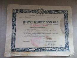 """Brevet Sportif Scolaire De L'enseignement Du Premier Degré De 1954 """"Mention Bien"""" - Diplômes & Bulletins Scolaires"""