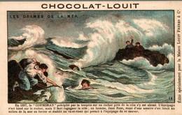 CHROMO CARTE POSTALE CHOCOLAT LOUIT LES DRAMES DE LA MER - Louit