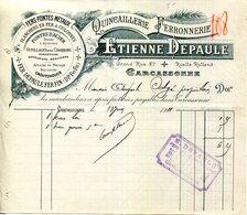 11.AUDE.CARCASSONNE.QUINCAILLERIE.FERRONNERIE.ETIENNE DEPAULE 27 GRANDE RUE. - France