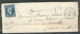 FRANCE 1859 N° 14  S/Lettre Obl. PC 3369 Tilly S/Seulles - 1853-1860 Napoleone III