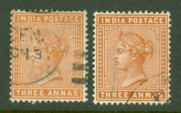 India: 1882/90   QV    SG93 / 94    3a   Orange And Brown-orange        Used - India (...-1947)