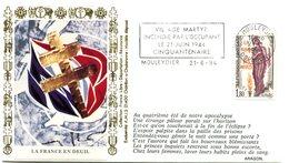 Flamme Mouleydier Du 21 Juin 1994 - Village Martyr 50e Anniversaire - X 534 - WW2 (II Guerra Mundial)