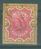India: 1895   QV     SG107a    2R    Carmine & Brown      Used Perfin - 1882-1901 Impero