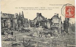 GUERRE 14 18 ROYE LA FRANCE RECONQUISE EGLISE ST PIERRE ET BOULVARD DU NORD 1917 - Roye
