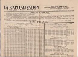 PAGE INFORMATION SOCIETE LA CAPITALISATION ,LISTE BONS D EPARGNE En 1937! - Bank & Insurance