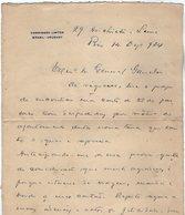 VP13.094 - Brésil - Commissao Limites Brasil - Uruguay à RIO DE JANEIRO 1924 - Lettre De Mr ?? Pour Mr Le Gal GAMELIN - Manuscripts