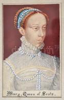 XIX. Sz.:  Jelzés Nélkül: Mária, Skót Királynő. Akvarell, Papír. 14x9 Cm. Üvegezett Keretben. / Mary, Queen Of Scots. Wa - Other Collections