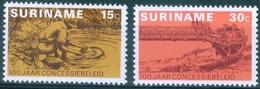 SURINAM  #687-8   Bauxite /Gold Goldwasser  1975 - Surinam