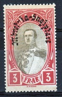 Albania 1928 Single 3 Franc Stamp Showing King Zog I  In Olive And Red With Overprint. - Albania