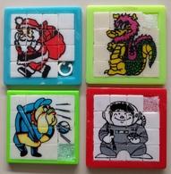 4 Taquins - Pousse Pousse -  Cosmonaute , Chien Joueur Baseball, Dragon Et Père Noël - Casse-têtes