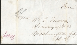 J) 1847 MEXICO, OUTER LETTER SHEET FROM CAMP ENCALADA, MEXICO TO THE SECRETARY OF WAR IN WASHINGTON, STRUCK WITH A FINE - Mexico