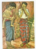 Laos - Peinture De Nguyen Cam Famille Cpm - Laos